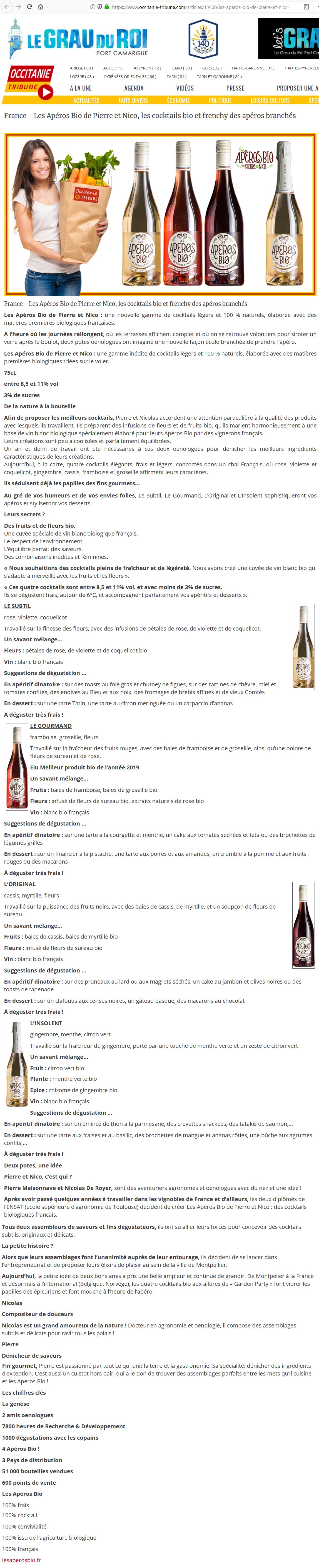 Les Apéros Bio de Pierre et Nico, les cocktails bio et frenchy des apéros branchés